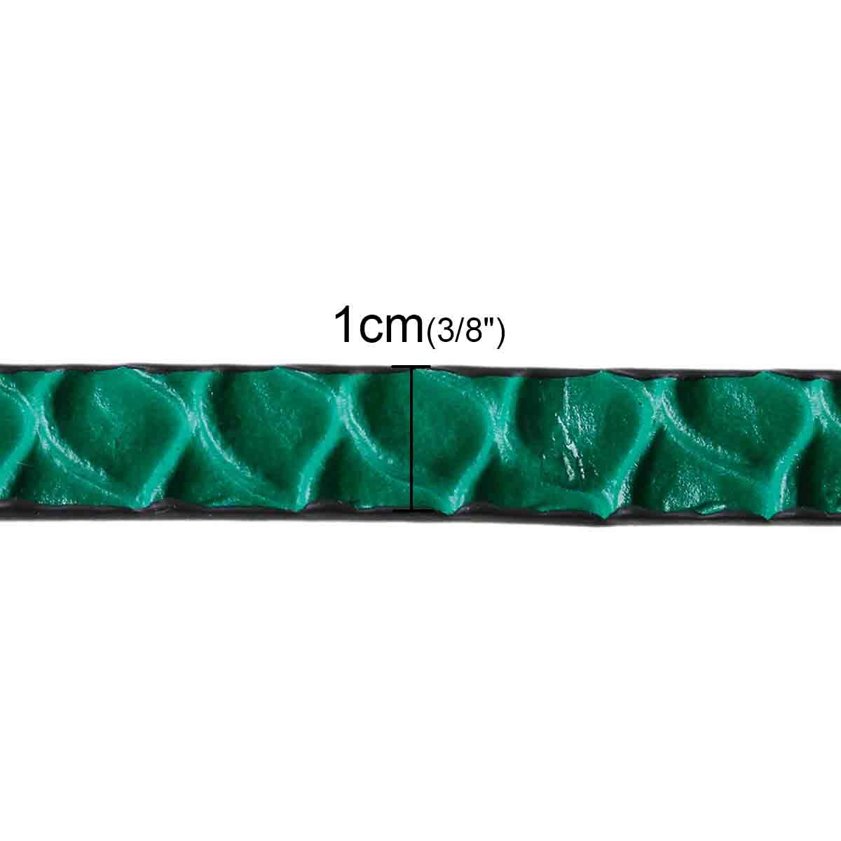 Lanière plate en cuir effet serpent vert dessous noir
