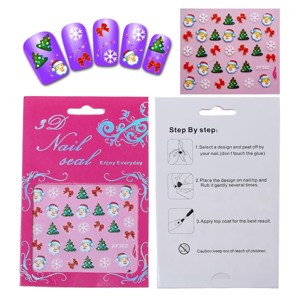 1 plaque de Stickers ongles autocollants en PET motifs Noël