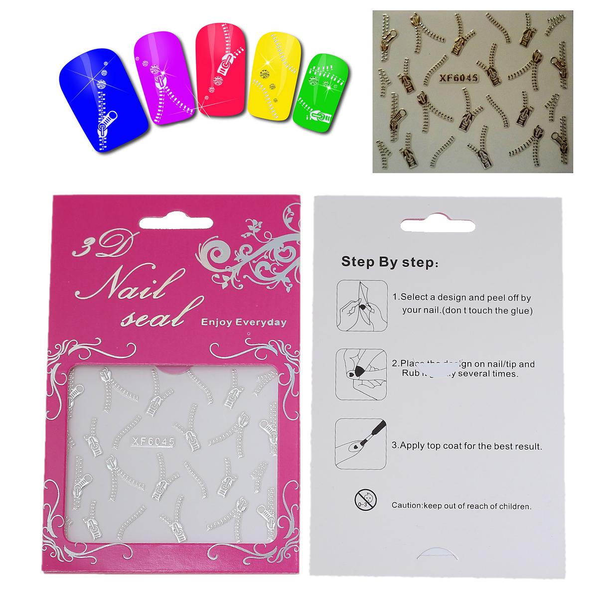1 plaque de Stickers ongles autocollants en PET Motif fermeture à glissière