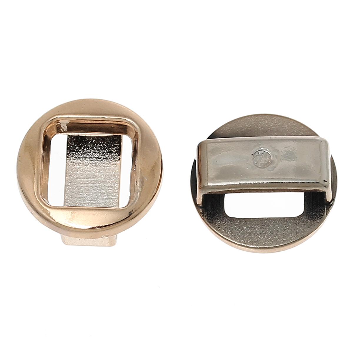 Lot de 6 perles passant en acrylique couleur or rose diamètre 18 mm