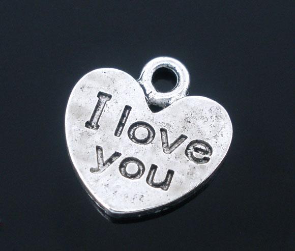 Lot de 10 Breloques en forme de coeur I love you en métal argenté de 12x11 mm