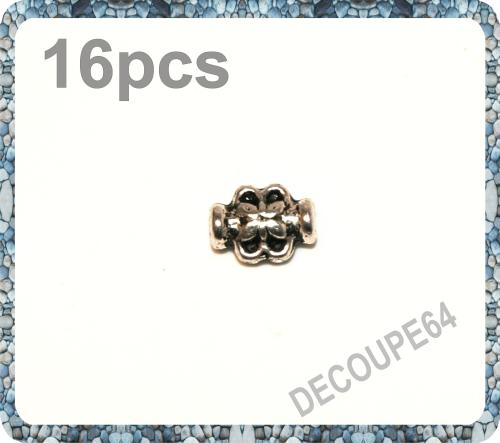 Perles tubes abeille en métal argenté 8x6mm Lot de 16
