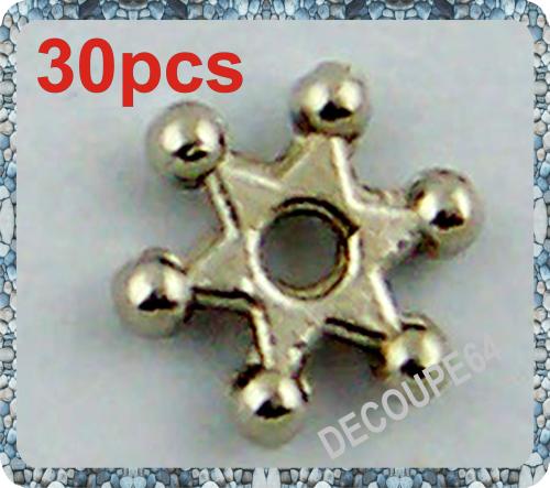 Perles etoiles en métal argenté 7mm Lot de 30