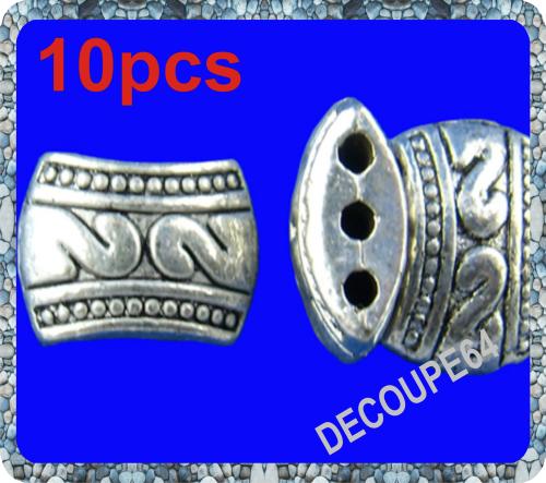 Perles tibet en métal argenté 8x11mm Lot de 10