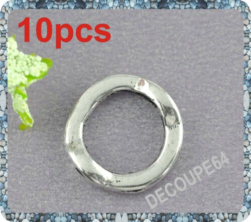 Perles Rondes en métal argenté 13mm Lot de 10