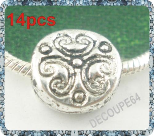 Perles rondes plates en métal argenté 7mm Lot de 14