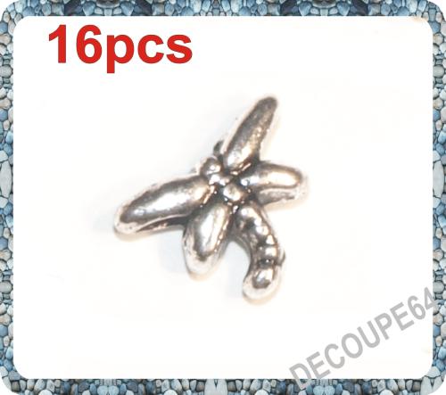 Perles libellule 8x6mm métal argenté Lot de 16