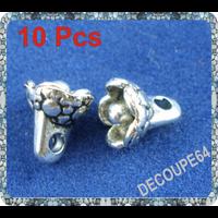 Lot de 10 Breloques fleur métal argenté 7x6mm