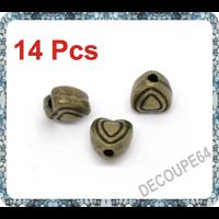 Lot de 14 Perles coeurs métal couleur bronze 6x6mm