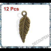 Lot de 12 Breloques feuilles métal couleur bronze 19x7mm