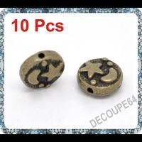 Lot de 10 Perles plates lune étoiles métal couleur bronze 9x4mm