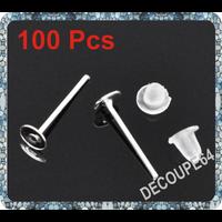 Lot de 100 Clous Plateaux 4mm fimo supports  Boucles d'oreilles + Embout