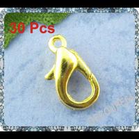 Lot de 30 fermoirs mousquetons métal doré 12mm