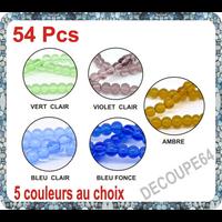 Lot de 25 perles en verre 6mm 5 couleurs au choix