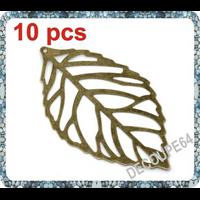 Lot de 10 Breloques feuille fine en métal couleur bronze 54x32mm