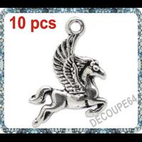 Lot de 10 Breloques cheval ailé en métal argenté 16x20mm