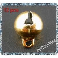Lot de 12 Breloques grelot en métal doré 8mm