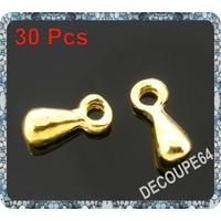 Lot de 50 Breloques poire en métal doré 7x3mm