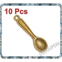 Lot de 10 Breloques cuillère en métal doré 24x6mm