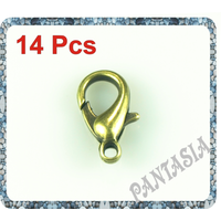 Lot de 14 fermoirs mousqueton métal couleur bronze 14x9mm