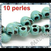 Lot de 10 perles crane en turquoise 10x12mm