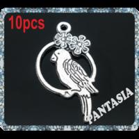 Lot de 10 Breloque oiseaux en métal argenté 28x16mm