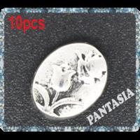Lot de Perles plates avec motif fleur en métal argenté 11x9mm lot de 10
