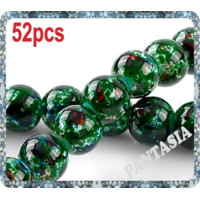 Lot de 50 perles rondes vertes marbrés en verre 8mm