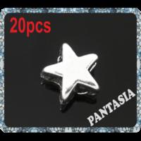 Lot de 20 Perles étoiles lisses en métal argenté 6x6mm