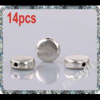 Lot de 14 Perles palet lisses en métal argenté 7mm