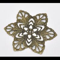 Lot de 10 Connecteurs étoile filigrane en métal couleur bronze 57mm