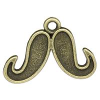 Lot de 10 Breloques moustache en métal couleur bronze 22mm