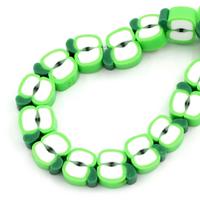 Lot de 10 perles fimo pomme vert 11mm