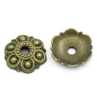 Lot de 10 Coupelles motif fleur 13mm en métal couleur bronze