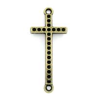 Lot de 4 Connecteurs croix métal couleur bronze 36x15mm avec emplacement strass