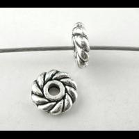 Lot de 24 Perles rondelles en métal argenté 6mm