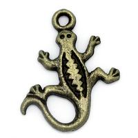 Lot de 10 Breloques salamandre en métal couleur bronze 18x15mm