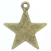 Lot de 10 Breloques grande étoile en métal couleur bronze 23x21mm