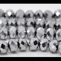 Perles en cristal rondelle 8x6 mm noir AB métallisé lot de 16