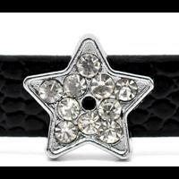Lot de 2 Perles étoiles pour ruban en métal argenté avec strass 12mm