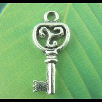 Lot de 10 Breloques clés en métal argenté 21x9mm