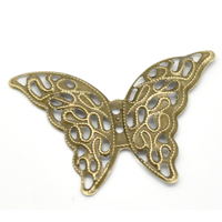 Lot de 10 connecteurs papillon filigrane bronze 4.1x2.9cm