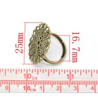 Bague  Ajustable au doigt en métal couleur bronze munie d'une estampe  de  25mm- PANTASIA