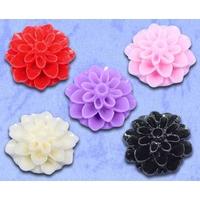 Lot de 10 fleurs en résine couleur pastel Embellissement cabochons 16x8mm