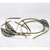 serre-tête, headband,  Fleur Bronze 38cm, 4.7mm