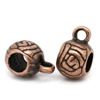 bélières rondes, forme boule, motif fleur, attaches breloques coloris cuivre 11x6mm