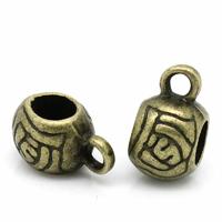 Bélières rondes, forme boule, motif fleur, attaches breloques coloris bronze 11x6mm