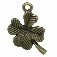 Lot de 6 breloques trèfle 4 feuille porte bonheur lucky en métal coloris bronze 19x12mm