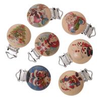 1 clip pour attache tétine en bois peint, forme ronde motif Noel, père noel, sapin, neige 44x30mm