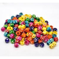 30 perles rondes en bois 10mm, couleur mélangées, motif pois